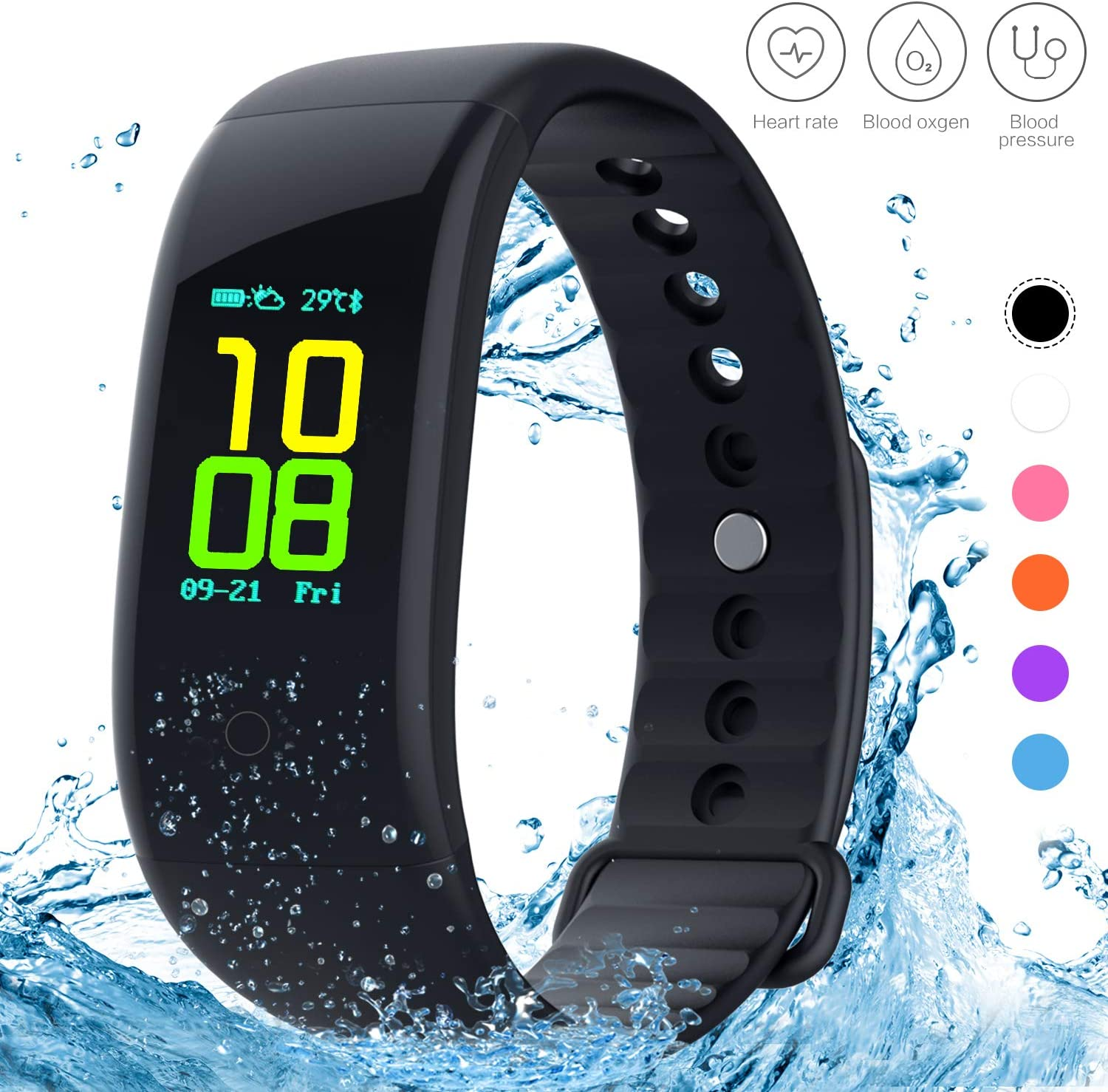 Yeartown Fitness Tracker, Activity Tracker OLED Color Screen Watch Smart Wristband with Heart Rate Test, IP67 Waterproof Sports Bracelet with Steps, Mileage Trails, Calorie Sleep Monitoring etc