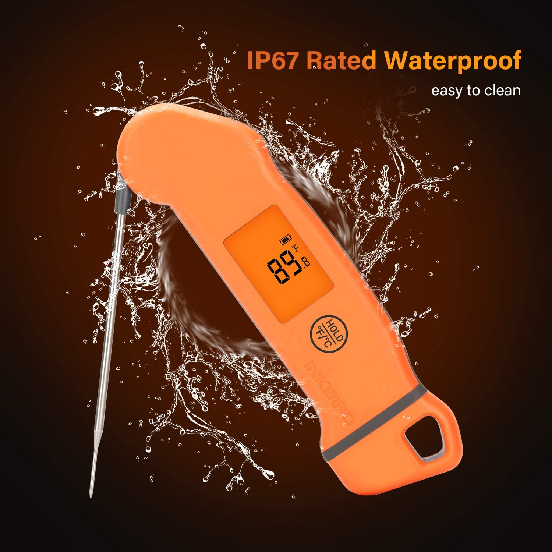 IP67 Wasserfest Kochthermometer K/üchenthermometer Baby-Ern/ährung Digital Fleischthermometer Grillthermometer f/ür Braten BBQ Inkbird USB Wiederaufladbar Digital Einstechthermometer IHT-1S