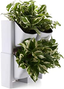 T4U Plastic Self Watering Vertical Living Wall Planter Set White Pack of 2, Stackble Wall Mounted for Indoor Outdoor Herb Vegetable Flower Plant