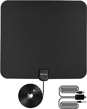 Ecandy - Antena de TV interior, TDT, digital, VHF/UHF/FM, con amplificador de señal hasta aprox. 80,5 km extraíble y cable coaxial, alto rendimiento ...