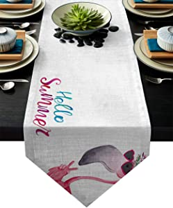 Fandim Fly Table Runner Funny Flamingo in Sunglasses Table Runners for Catering Events, Dinner Parties, Wedding, Indoor and Outdoor Parties, 16 x 72 Inch