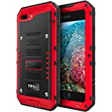 iPhone 7 Plus Case Heavy Duty with Built-in Screen Full Body Protective Waterproof, Shockproof Drop Proof Tough Rugged Hybrid Hard Cover Military Grade Defender for Outdoor Sport Red