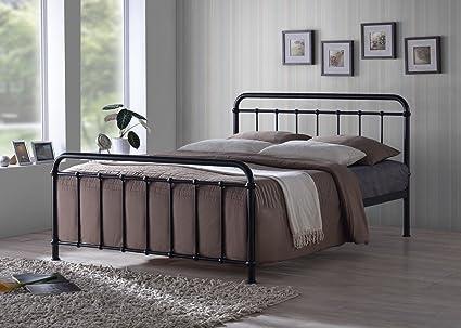 Estructura de cama de matrimonio de color metálico negro con estilo de hospital antiguo de 137 cm de ancho