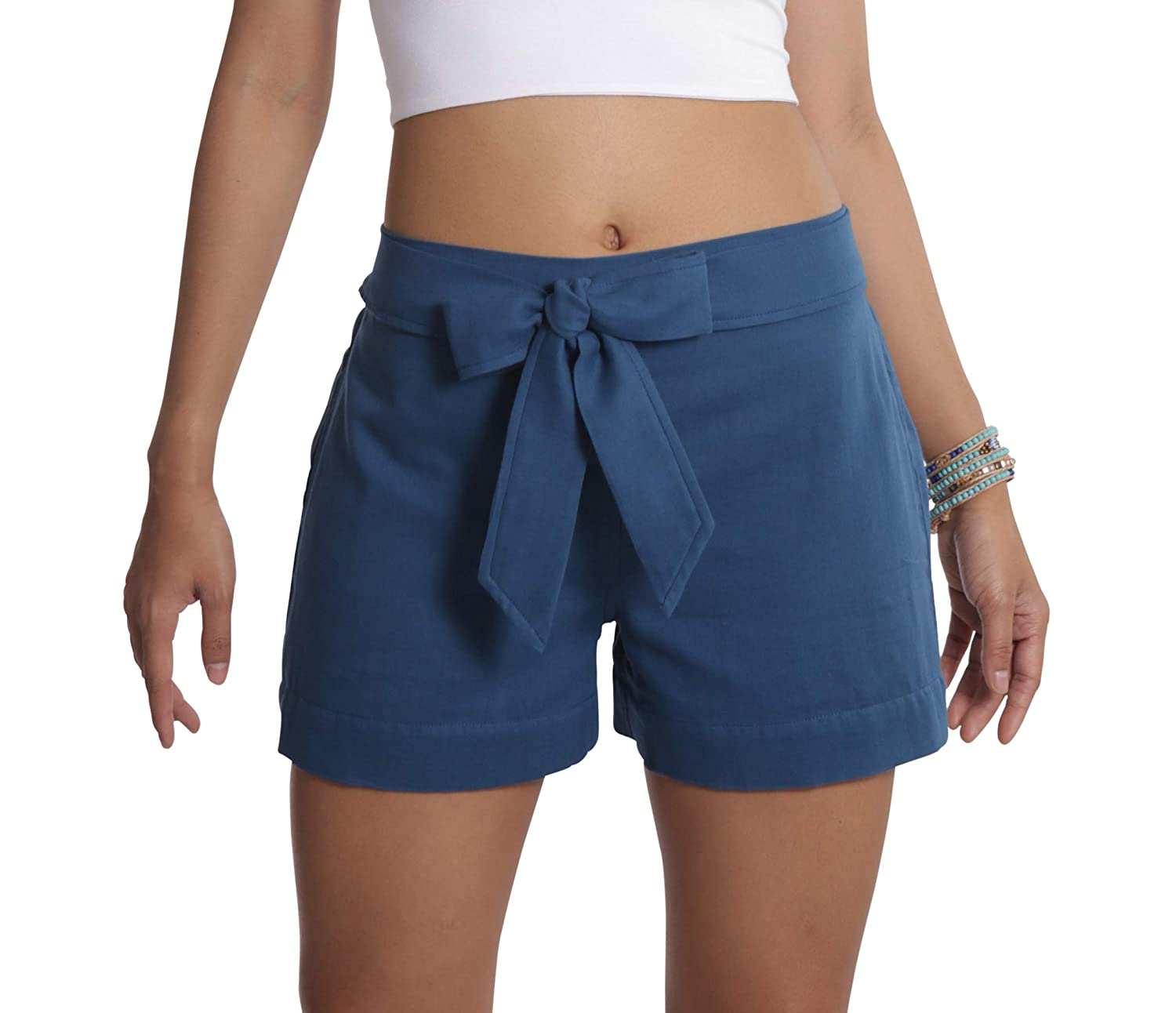 bluee Tropic Bliss Organic Cotton Tie Shorts for Women, Hand Dyed, Comfy Boho Style