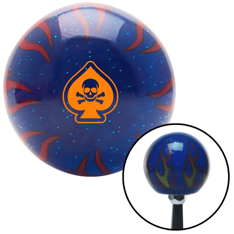 American Shifter 298431 Shift Knob Orange Spade Skull Blue Flame Metal Flake