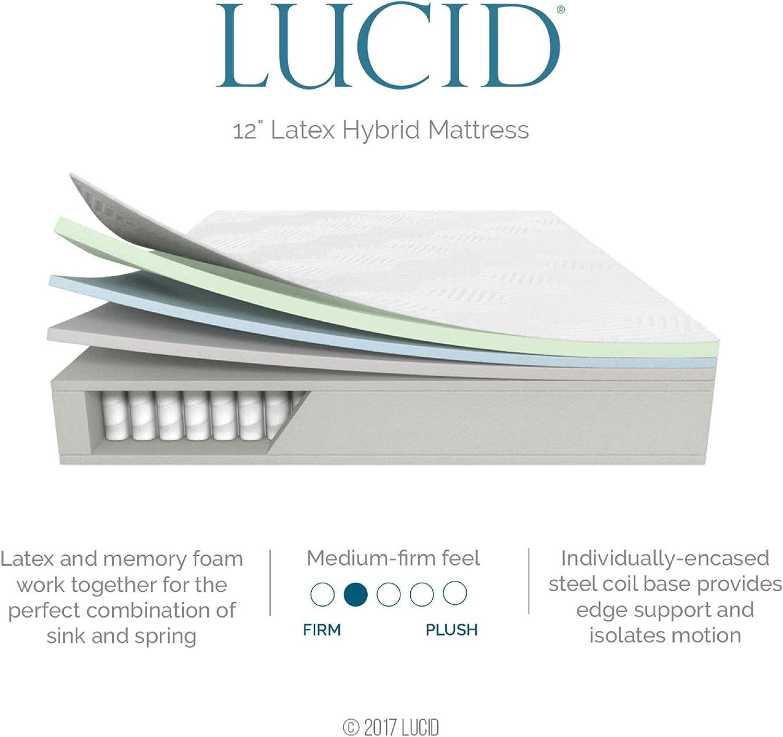 LUCID 12 Inch Twin Latex Hybrid Mattress
