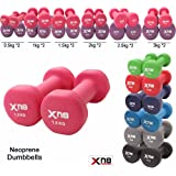 Xn8 Sports Neoprene Dumbbell Set 1Kg, 2Kg, 3Kg, 4Kg, 5Kg, 6kg, 8kg, 10kg pair Ladies Gents Aerobic Weights Fitness Body Toning Home Gym Strength Exercise Biceps Training Pilates