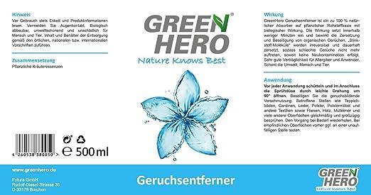 Green Hero olor eliminador Spray para textiles, guantes ...