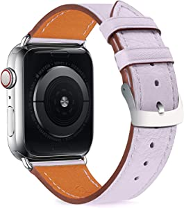 Compatible with iWatch Bands 38mm 40mm Womens for Apple Watch Band Series 6 SE 5 4 3 2 1, Pierre Case Durable Genuine Leather Replacement Strap, Adjustable Stainless Metal Clasp