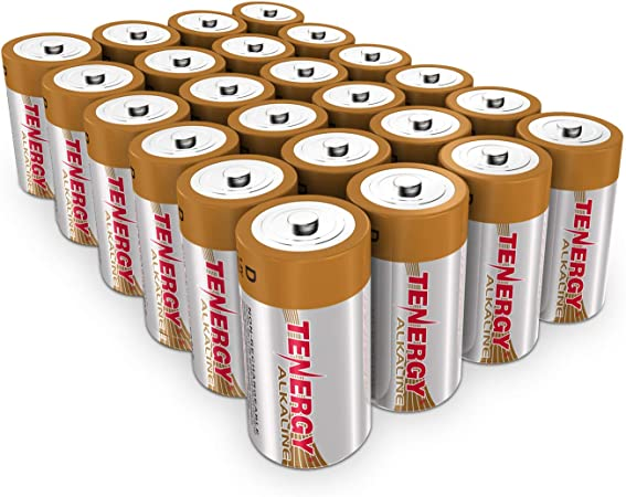 Tenergy 1.5V D Alkaline LR20 Battery, High Performance D Non-Rechargeable Batteries for Clocks, Remotes, Toys & Electronic Devices, Replacement D Cell Batteries, 24-Pack