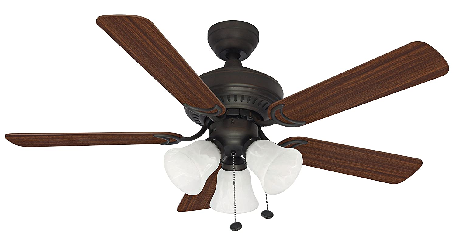 Litex E-BLR44ABZ5C Balmoral Collection 44-Inch Ceiling Fan with Five Reversible Mahogany Dark Oak Blades and Three Light Kit with Alabaster Glass