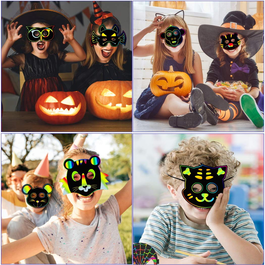 Outgeek 36PCS Animal Scratch Paper Masks DIY Magic Scratch Masks for Kids Art Rainbow Scratch Face Paper Dress Up Costume Birthday Party Favors Halloween Cosplay Masks Plus Elastic Cords Ba DIY Masks