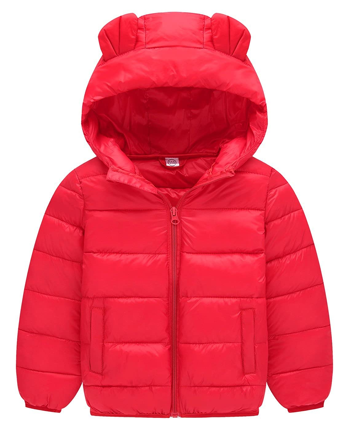 Girls Winter Coat Packable Puffy Padded Outerwear Hooded Jacket 2-7T Happy Cherry