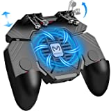 Mobile Game Controller w/ L1R1 L2R2 Triggers [ 6 Finger ], PUBG/COD Mobile Controller w/Cooling Fan & 1200mAh Power Bank…