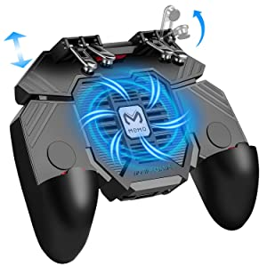 "Mobile Game Controller w/ L1R1 L2R2 Triggers [ 6 Finger ], PUBG/COD Mobile Controller w/Cooling Fan & 1200mAh Power Bank, Gaming Grip Joystick Gamepad, Shoot Aim Keys for 4.7-6.5"" Android iOS Phone"