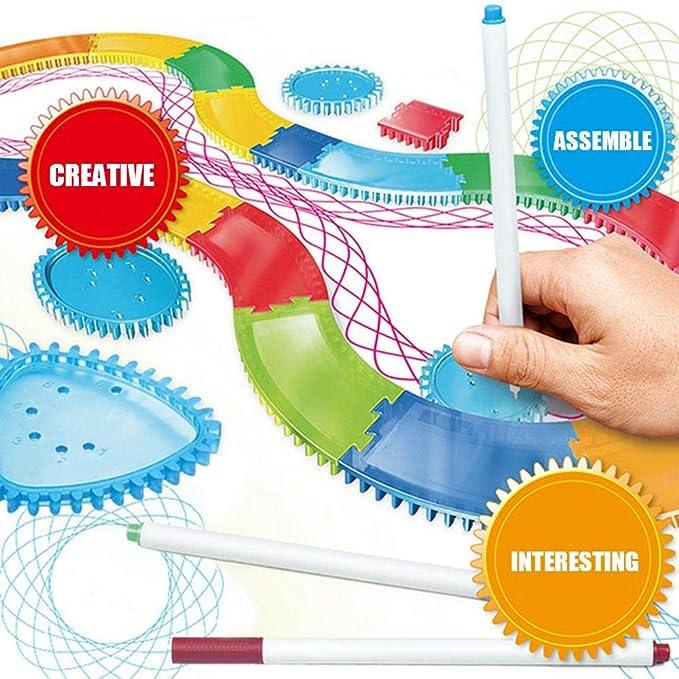 Pawaca Draw Ruler Conjunto Clásico Plantilla de Dibujo DIY Regla Diseño de Espiral Entrelazado Gears Rueda Entrelazadas con Bolígrafos - Creativa ...