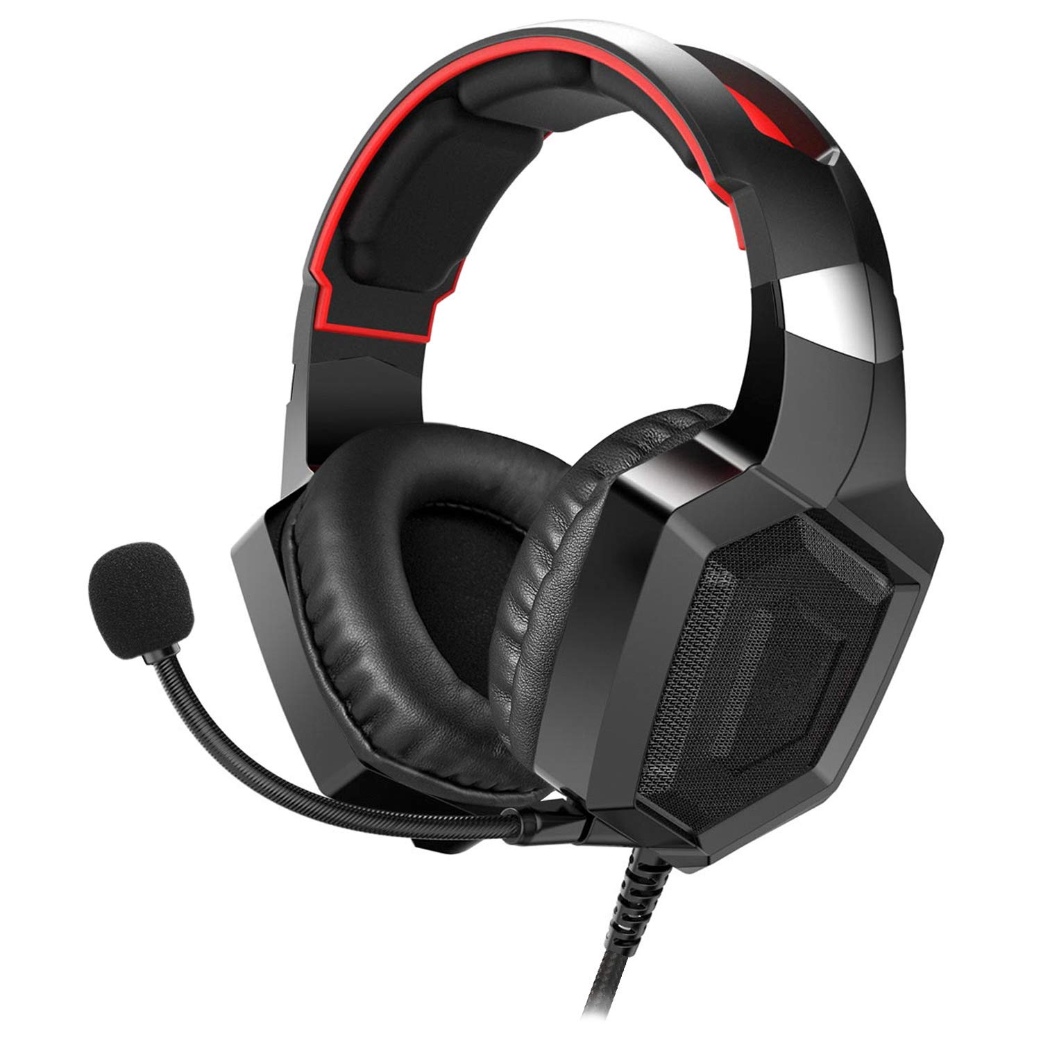 Amerzam Gaming Headset with Stereo Surround Sound, LED Lighting & Noise Canceling Microphone for PS4, Xbox One (Adapter Needed), Nintendo Switch (Audio) etc. (Red) (Red)