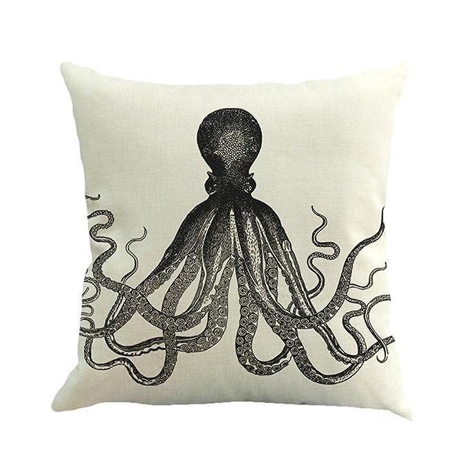 RFVBNM Funda de almohadas cojines de calamar de lino pulpo casero ...