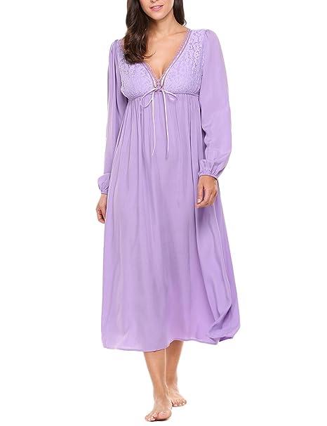 AIMADO Ropa de Dormir para Mujer Pijamas Albornoz Camisón Largo Vestido con Mangas Largas Vintage S