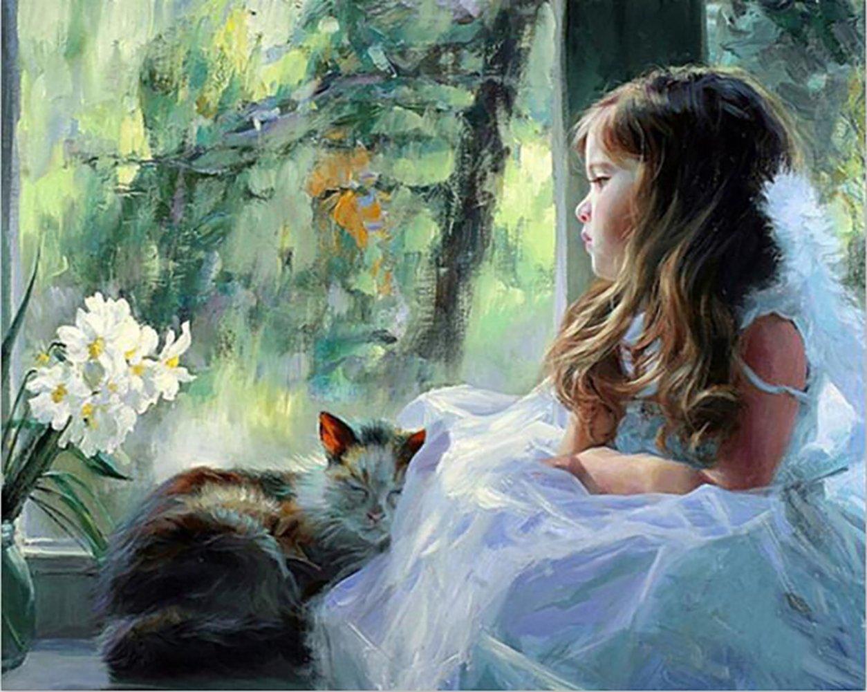 Fuumuui Fai-da-Te Fai-da-Te Pittura a Olio su Tela Regalo per Adulti Bambini dipingere da Numero Kit Decorazioni per la casa -Bambina e Il Suo Gattino 16 * 20 Pollici