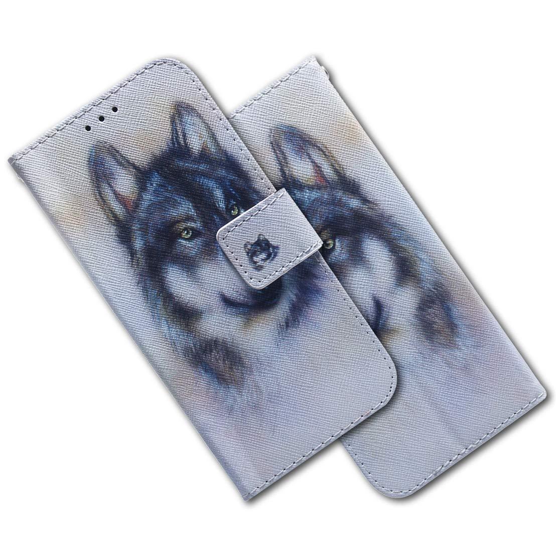 MRSTER Sony Xperia L3 Funda Ultra Slim Carcasa Protecci/ón de PU Cuero Funda con Stand Funci/ón para Sony Xperia L3 EF PU- White Wolf Sony Xperia L3 Cover