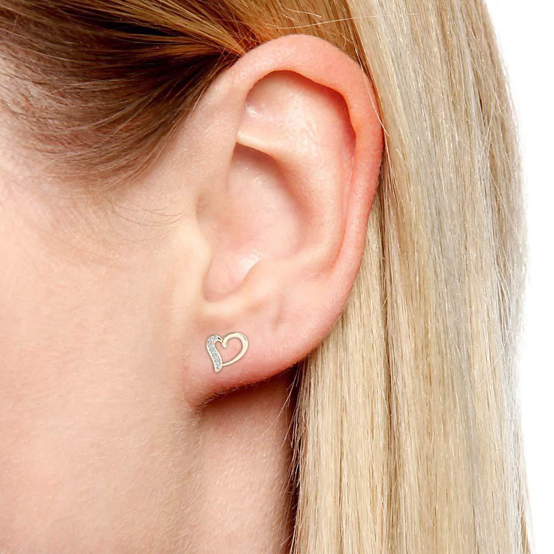 0.10 Ct Round Cut Simulated Diamond Heart Earrings Stud Earrings 925 Sterling Silver