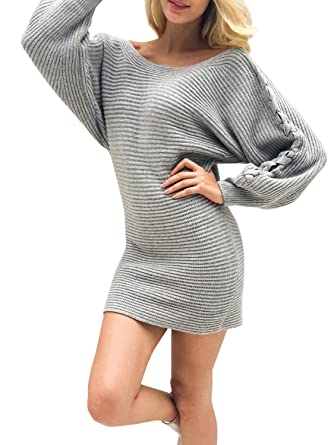 fa8aa84070c2 Glamaker Women's Casual Loose Pullover Knit Sweater Dress Short Knitted  Dress with Lace Up Long Sleeves Gray at Amazon Women's Clothing store: