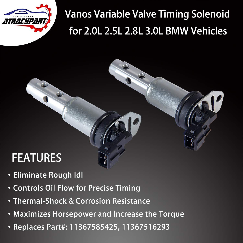 2PCS Vanos Solenoid Variable Valve Timing VVT Solenoid   for BMW 128i 135i  325i 328i 330i 335i 525i 528i 530i 535i 740i E60 E90 N52 N54 & More with