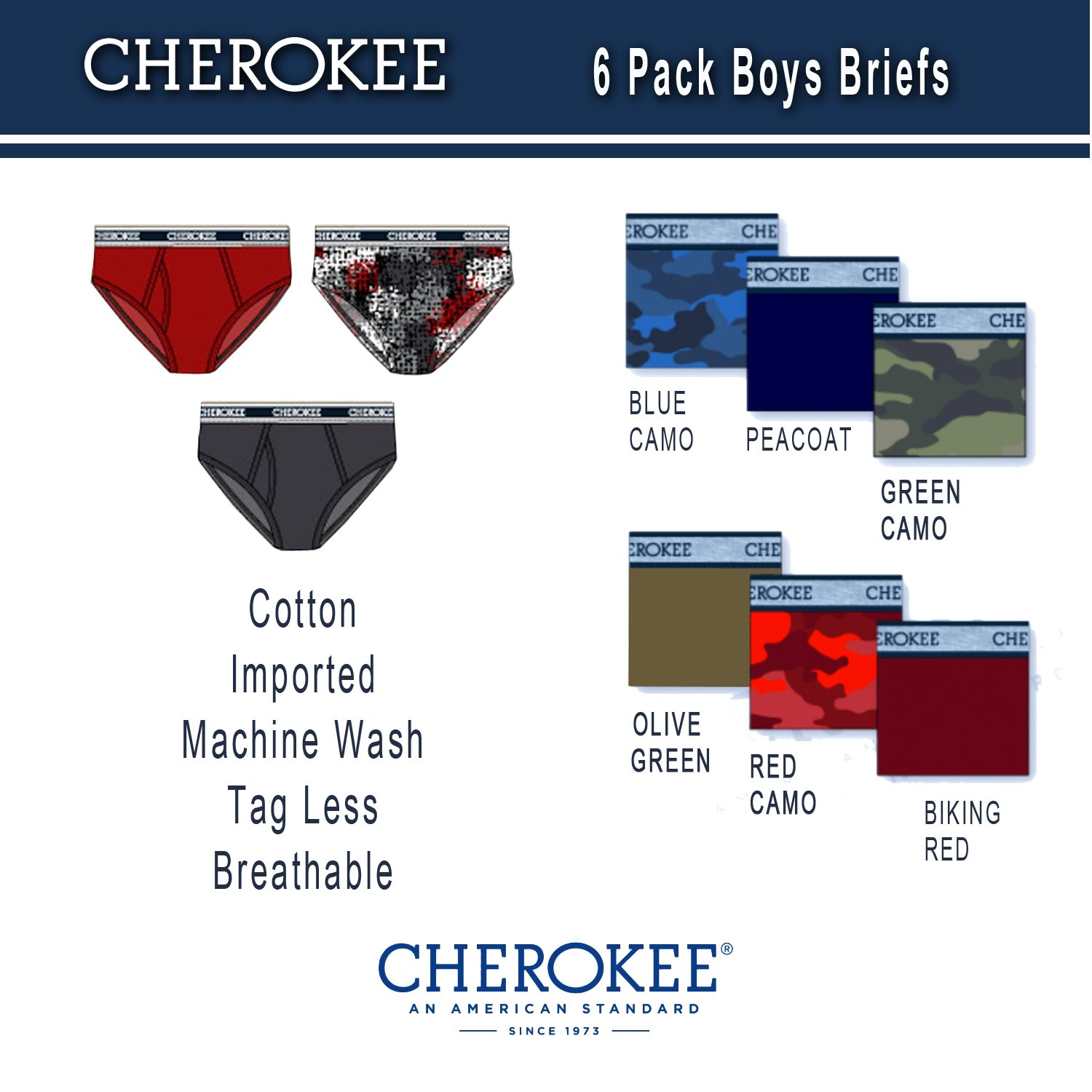 Cherokee Little Boys 6 Pack Brief, Camo/Solid Print Pack, XL by Cherokee (Image #4)