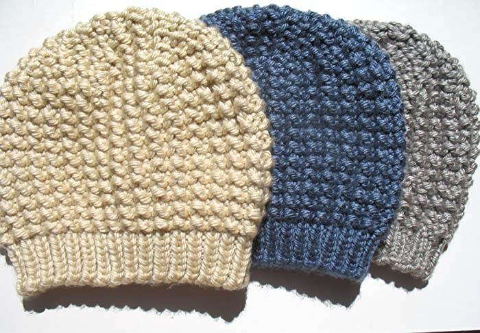 70a133e7e70 Amazon.com  Ladies Slouchy Hat Hand Knitted Grey Black Tan Denim Hat Made  in USA Free Shipping  Handmade