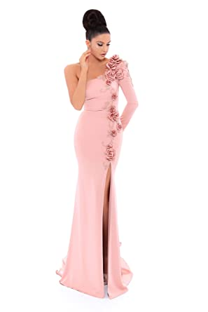 6895a9e3fc6 Tarik Ediz Women s One Shoulder Floral Kerry Evening Gown 6 Dusty Rose at  Amazon Women s Clothing store