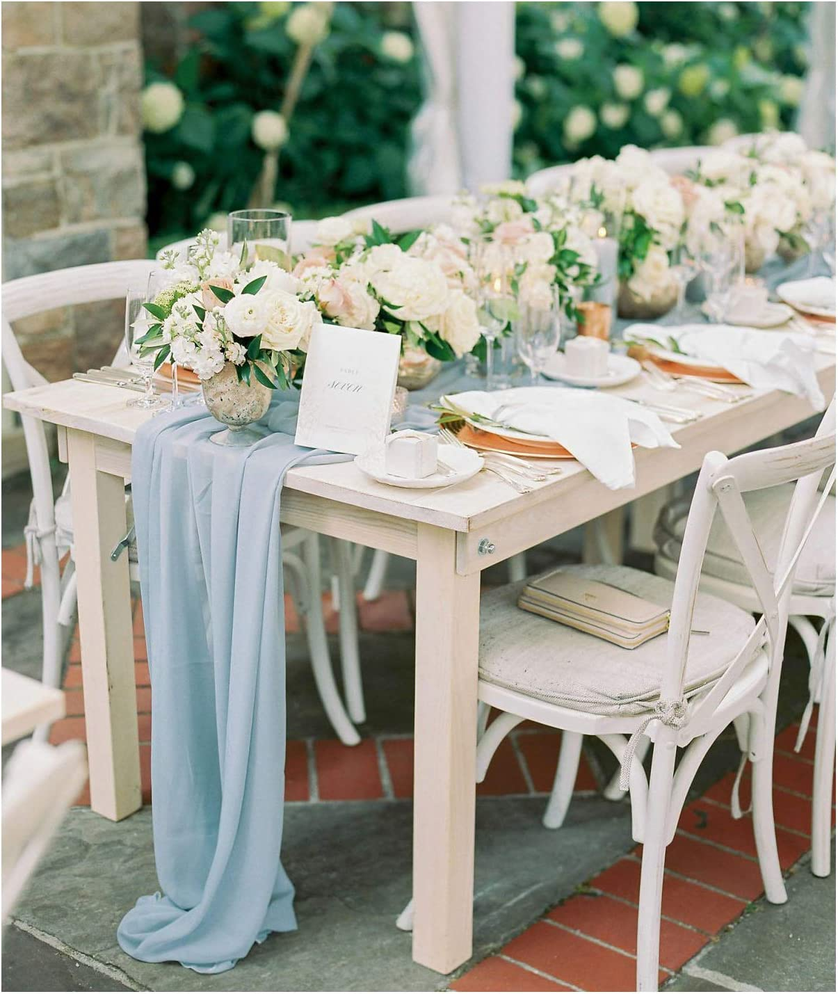 SP Boutique Blue Sheer Table Runner 2 Packs 10FT Chiffon Fabric Runners for Wedding Arch Outdoor Rustic Events Dessert Table Decor
