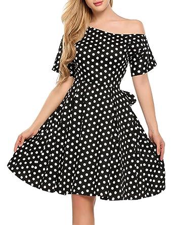 White Polka Dot Dress Off the Shoulder