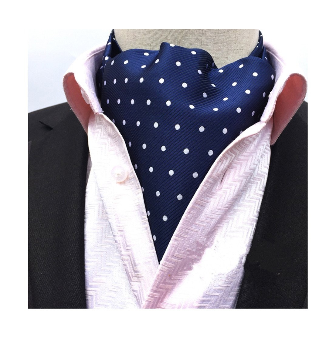 Secdtie Men's Blue Striped Polka Dot Silk Cravat Woven Ascot Jacquard Ties 017