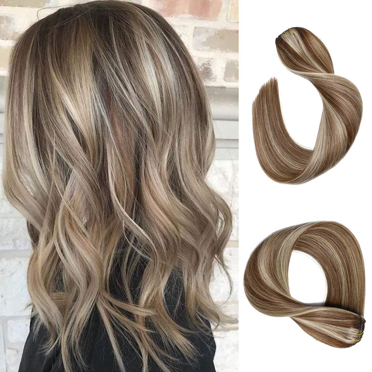 Clip in Hair Extensions Chestnut Brown with Blonde Highlights Straight Real Human Hair Clip in Extensions 7 Pieces 70 Gram Silky Straight Double Weft Remy