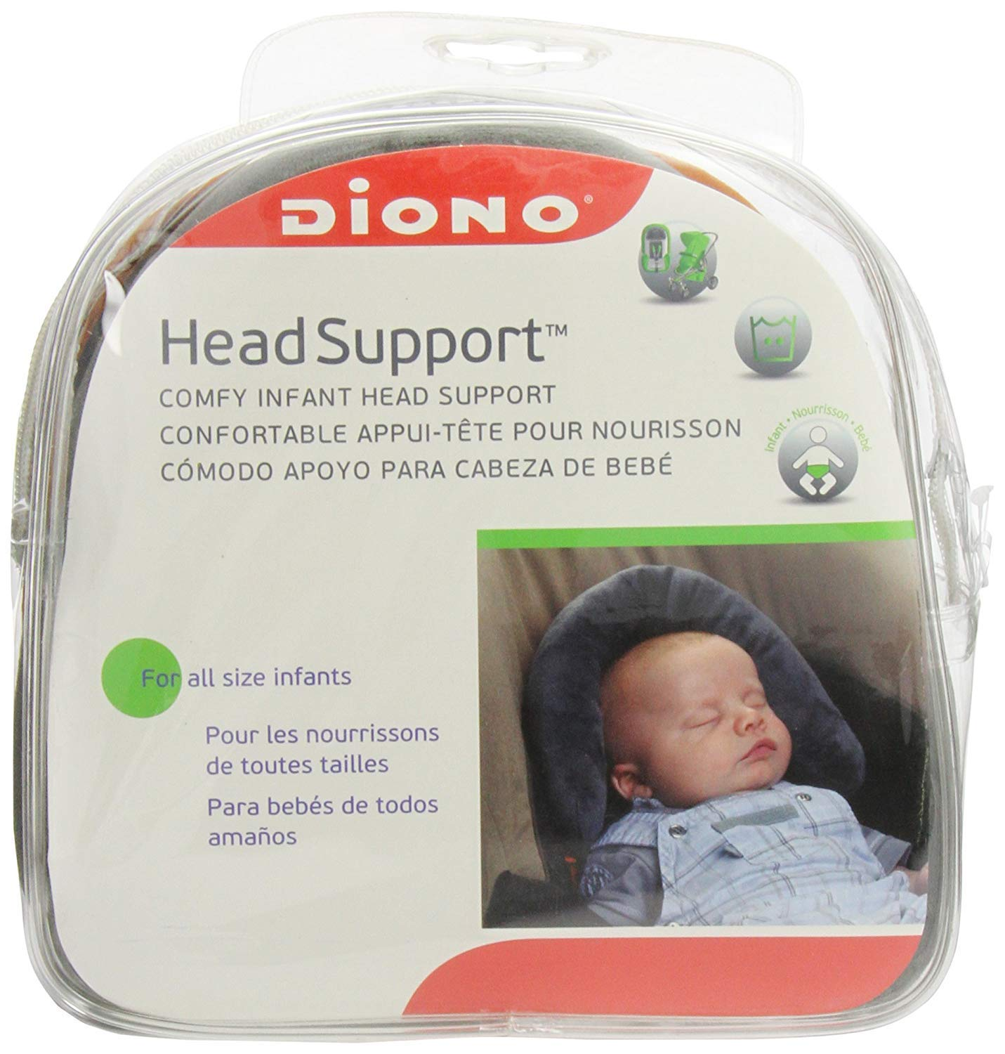 Diono Head Support, Protective Head Support for Use in Car Seats, Infant Carriers, and Strollers, Grey by Diono (Image #4)