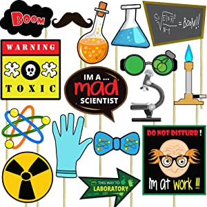 Science Party Photo Props (32 Pieces) for Photo Booths, Selfies, great for birthday parties, and More! Party Favors are Pre-Made (Not DIY) for Your Convenience!