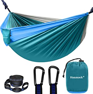 Camping Hammock, Portable Double Hammock with 2 Tree Straps(16+2 Loops), 2 Person Hammocks with 210T Parachute Nylon for Backpacking, Outdoor, Beach, Travel, Hiking, Garden, Lightweight Hammock Swing