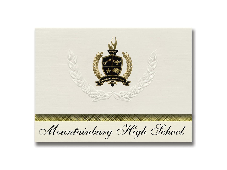 Unterschrift Ankündigungen Mountainburg High School (Mountainburg, AR) Abschlussankündigungen, Präsidential-Stil, Grundpaket mit 25 Goldfarbenen und schwarzen Metallfolienversiegelungen