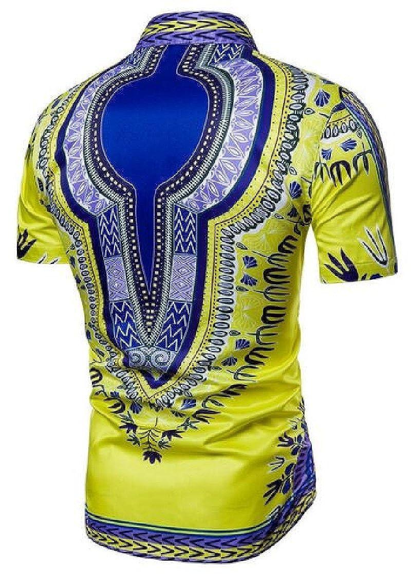 M/&S/&W Mens African Dashiki American Casual Button Down Shirt Short Sleeves