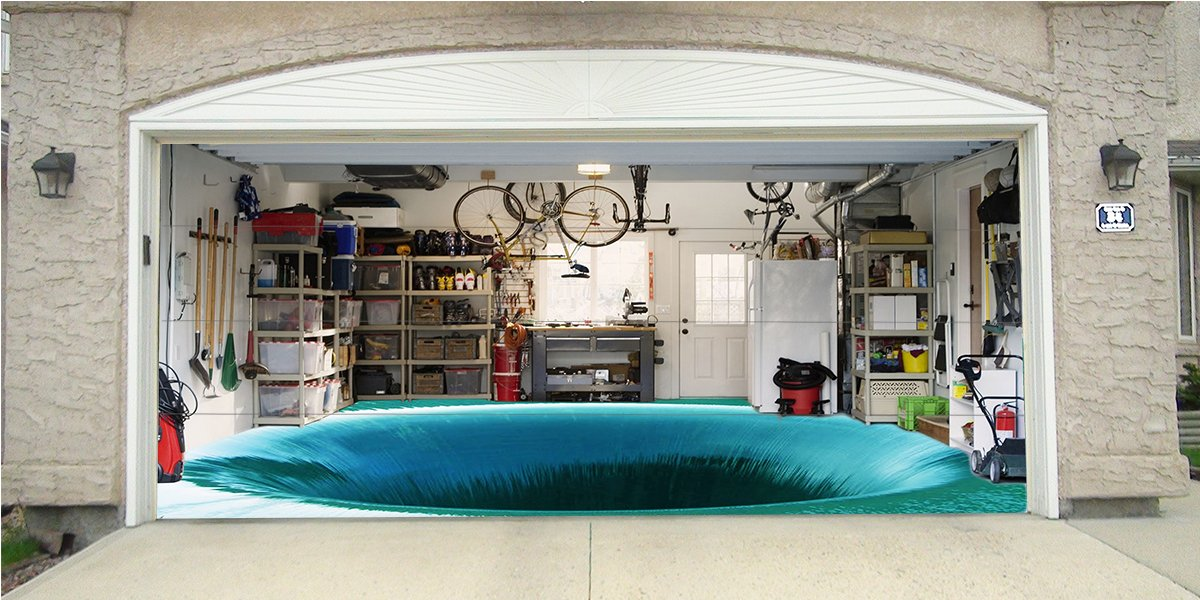 Re-Usable 3D Effect Garage Door Cover Billboard Sticker Decor Skin - Bottomless Hole - Sizes to fit your Garage.