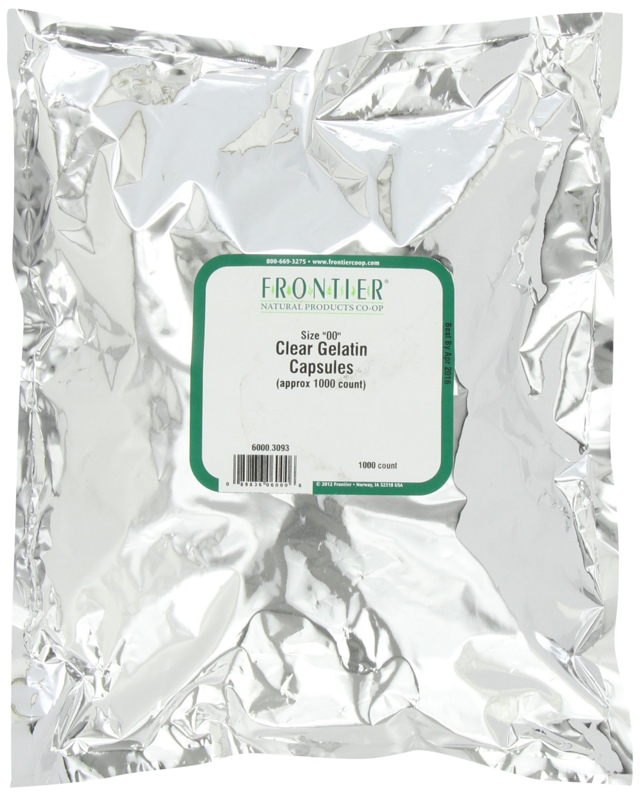 Frontier Gelatin Capsules Clear 00 1000, 4.64 Ounce Bag