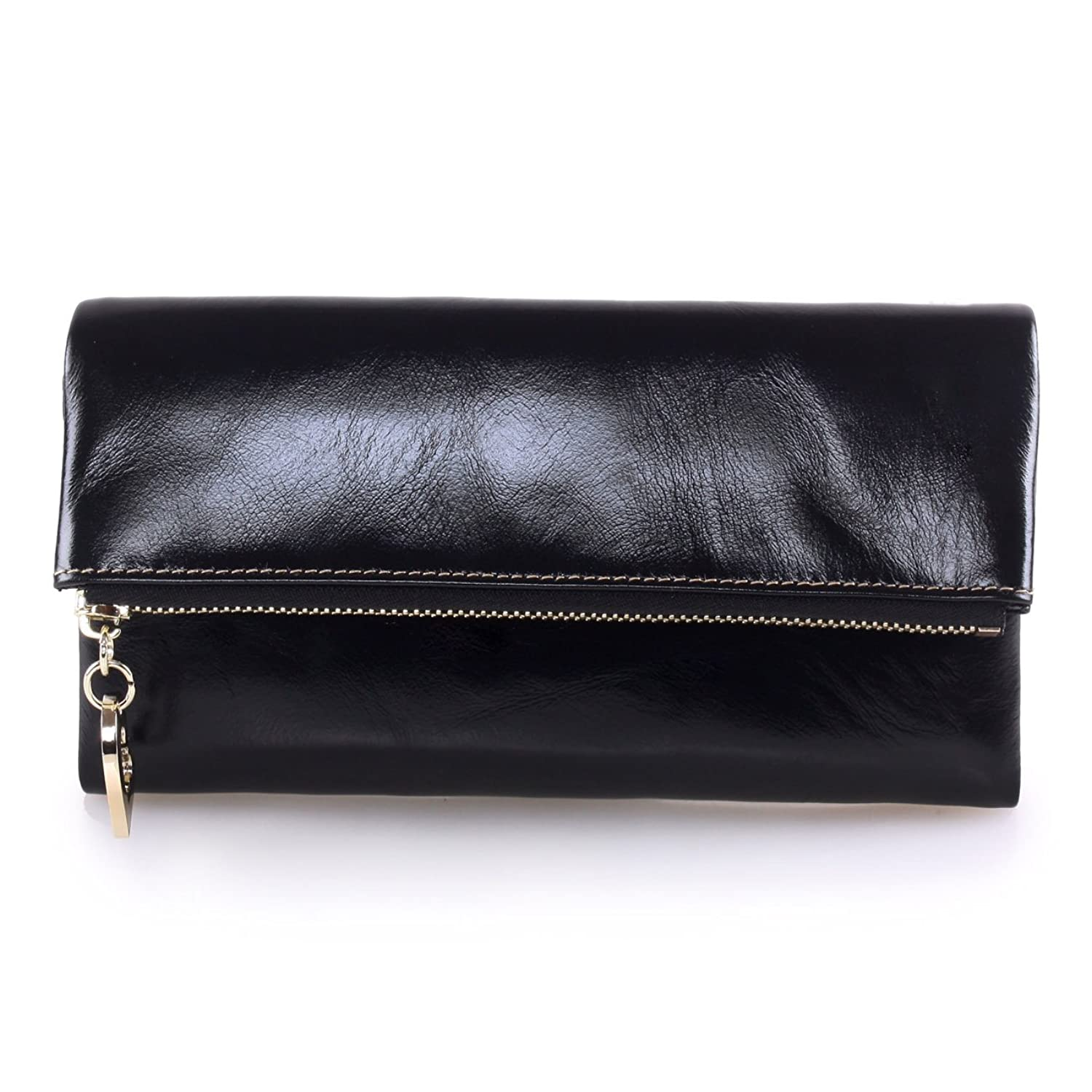 AINIMOER Women Long Leather Wallet Zipper Large Capacity Clutch Phone Holder Purse