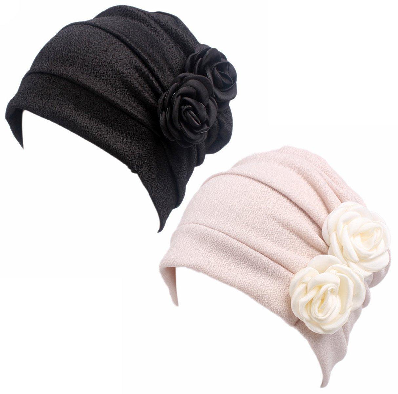 HONENNA Ruffle Chemo Turban Headband Scarf Beanie Cap Hat for Cancer Patient (Black+Begie)