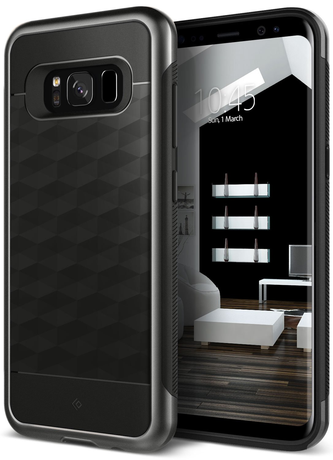 Galaxy S8 Case, Caseology [Parallax Series] Slim Dual Layer Protective Textured Geometric Cover Corner Cushion Design Samsung Galaxy S8 (2017) - Black by Caseology