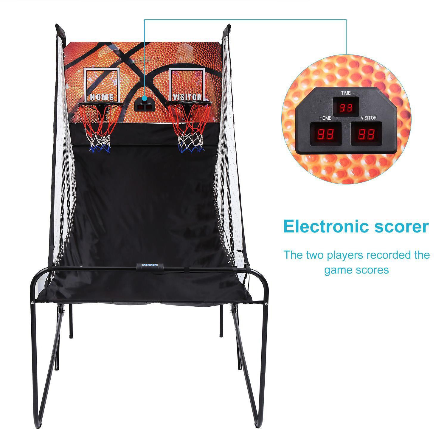 Basketball Arcade Game, Indoor Basketball Double Shot Arcade System Electronic Hoops Scoring with 5 Balls (US Stock) by Cosway