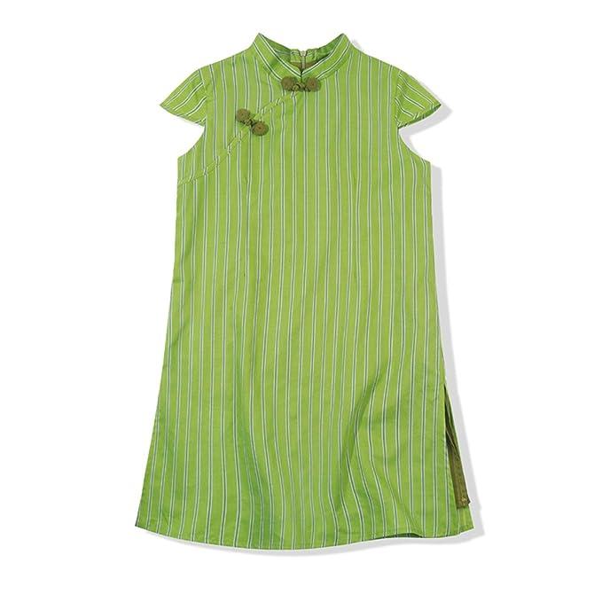 Niña Vestidos Ropa de Verano para niños Vestido de niñas Vestido de Fiesta Algodón Manga Corta Estilo Chino Qipao Rayas Verdes: Amazon.es: Ropa y accesorios