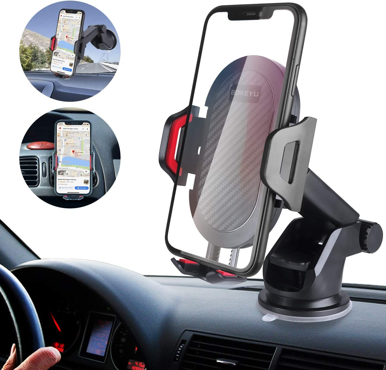 Car Phone Mount BOKEYU Dashboard Windshield Air Vent Cell Phone Holder for Car Adjustable Long Arm Strong Sticky Suction One Button Release Perfect for iPhone Samsung Galaxy Smartphones and Others