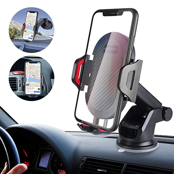 ba757f44b88a0a BOKEYU Car Phone Mount Dashboard Windshield Air Vent Cell Phone Holder for Car  Strong Sticky Suction