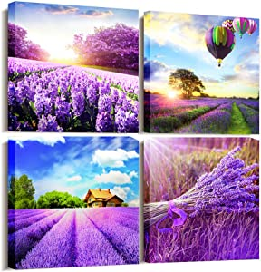 farmhouse wall decor Canvas Wall Art for Living Room Bedroom Bathroom Decoration kitchen canvas art Pastoral Purple Lavender Flowers Pictures Provence Fields Landscape Paintings 12x12 Inches 4 Pieces